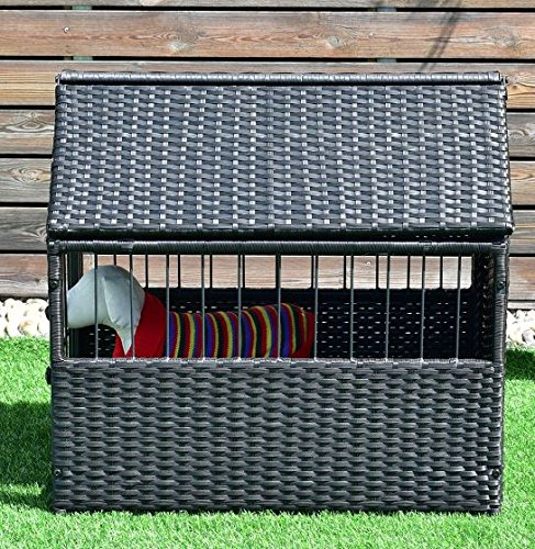 K&A Company House Pet Durable Rattan Dog Cage Kennel Storage Roof Shelter Rest Inclined Yard New Crate Outdoor Animal Backyard by K&A Company (Image #2)