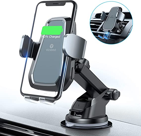 Auto-Clamping Car Wireless Charger Air Vent Dashboard Car Mount Galaxy Note10//S10//S20 SucSilver VVCAR Car Phone Mount Wireless Charger Compatible//w iPhone 11 Series//X//XR//8 Qi Car Charger 10W//7.5W