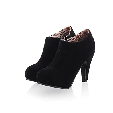 150a17c328e5 Inornever Women s High Heel Ankle Booties Autumn Fashion Zipper Faux Suede  Platform Dress Pump Boots Black