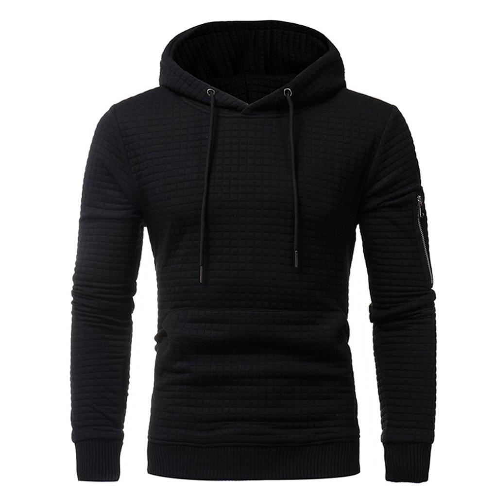 Shubuy Mens Shirt, Mens' Long Sleeve Hoodie Casual Hooded Fashion Plaid Jacquard Sweatshirt Tops Jacket Coat Cotton Outwear (Black, M)