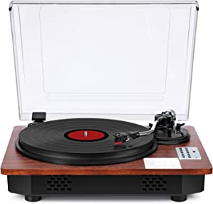 Record Player Turntable 3-Speed Vinyl LP Player with Speakers Bluetooth Input Output USB Direct Recording