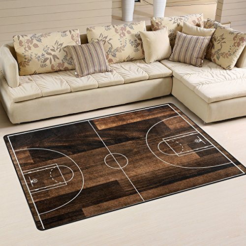 - WOZO Old Basketball Court Floor Area Rug Rugs Non-Slip Floor Mat Doormats Living Room Bedroom 60 x 39 inches