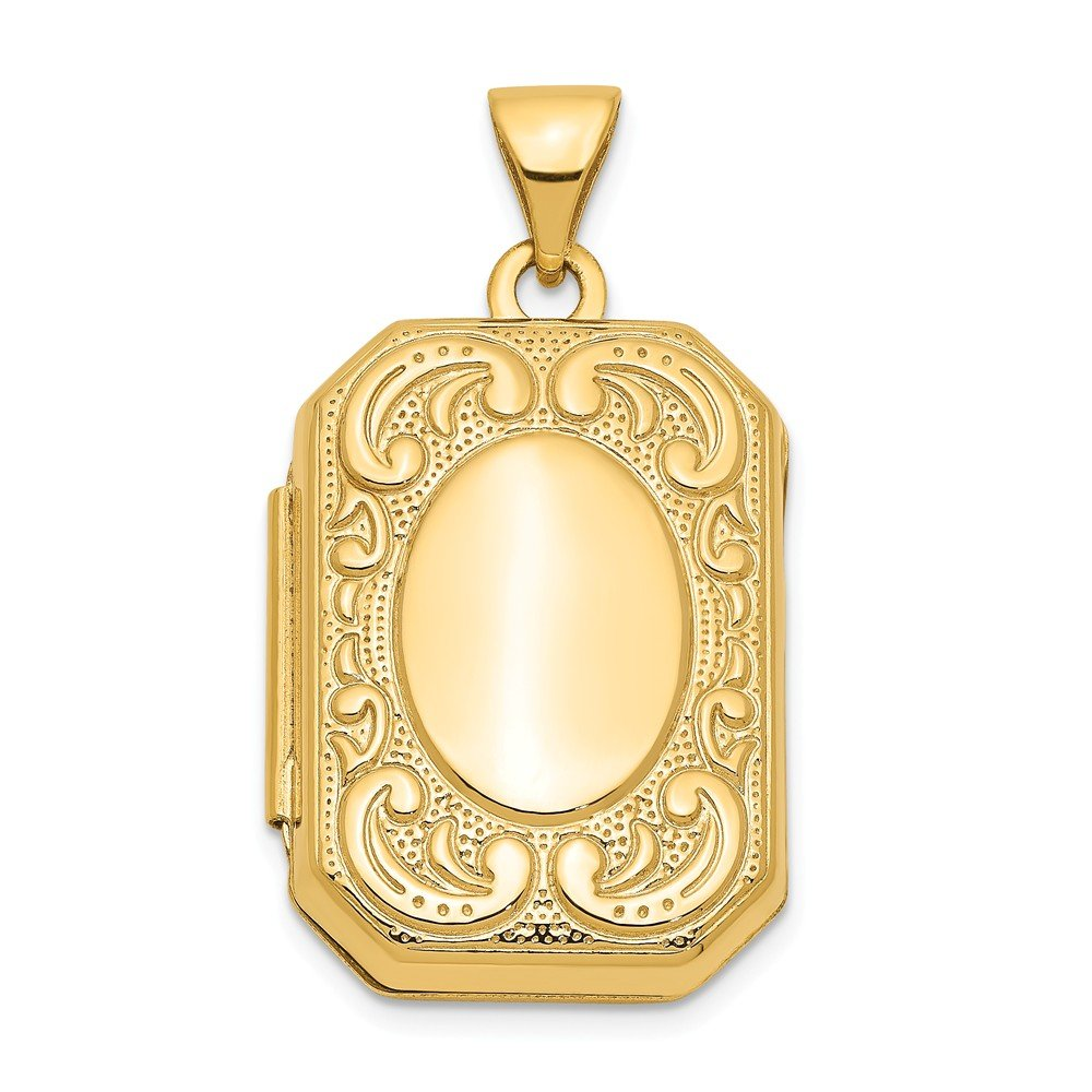 14k Yellow Gold Rectangle Photo Pendant Charm Locket Chain Necklace That Holds Pictures Shaped Fine Jewelry Gifts For Women For Her by ICE CARATS