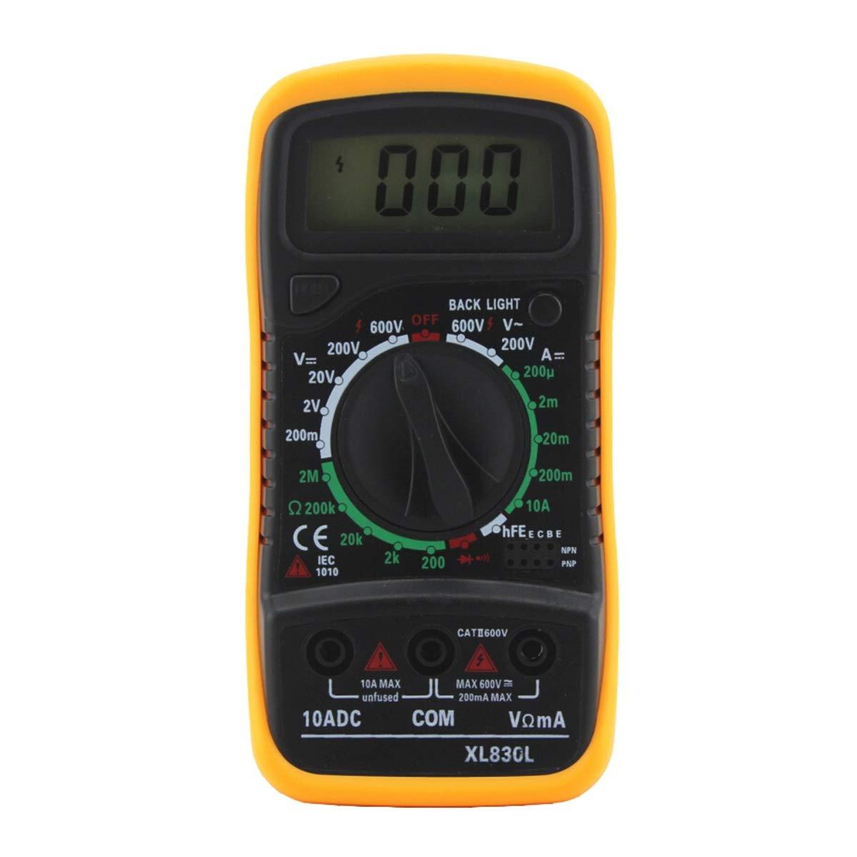 Jinxuny Mult/ímetro Digital XL830L Mult/ímetro Retroiluminaci/ón LCD Digital Mult/ímetro Volt/ímetro Amper/ímetro AC DC Ohm Volt Tester Medidor de medici/ón de Corriente de Prueba Color : Green