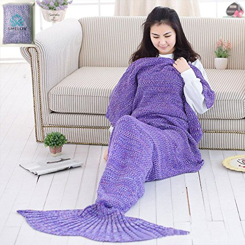 "SMELOV Mermaid Tail Blanket and Super Soft Handmade Crochet Summer Quilt Sleeping Bags,Best Birthday Gift for Adult Kids,71"" X (Best Diy Gifts)"