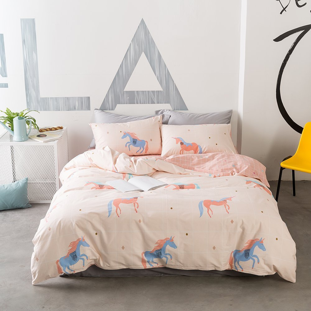 VClife Twin Duvet Cover Pink Bedding Sets, Girl Cotton Cartoon Printed Bedding Comforter Cover for Summer - Lightweight, Wrinkle Resistant, Zipper Closure, Chic Reversible Plaid Geometric Pattern