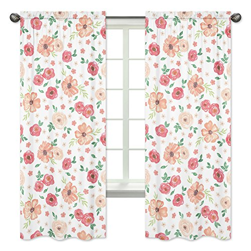 Sweet Jojo Designs Peach and Green Window Treatment Panels Curtains for Watercolor Floral Collection - Set of 2 - Pink Rose Flower ()