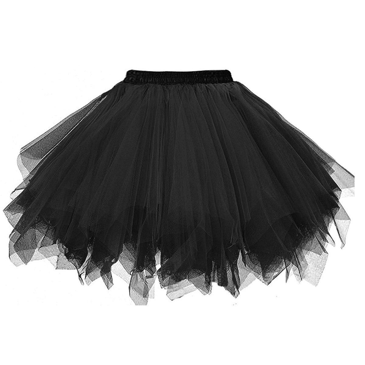 BIFINI Big Girls Tutu Skirts Layered Tulle Princess Dresses Sparkle Halloween Tutu Black