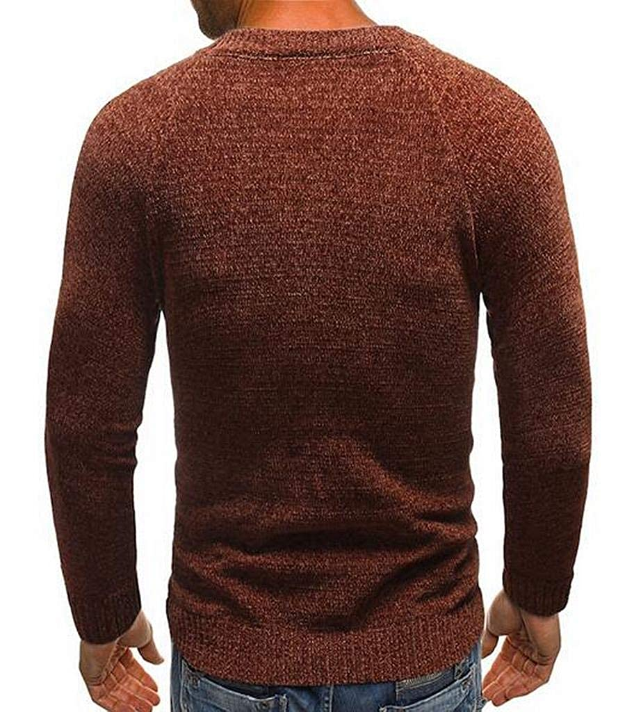 Pivaconis Mens Knit Crew Neck Striped Side Long Sleeve Fall Winter Pullover Sweater Jumper