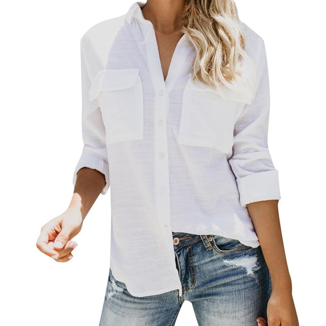 NREALY Women's Cotton Linen Casual Solid Long Sleeve Shirt Blouse Button Down Tops NREALY-Tank-072901