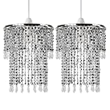 Pair of - Modern Sparkling Chrome Acrylic Crystal Jewel Bead Effect Ceiling Pendant Light Shade