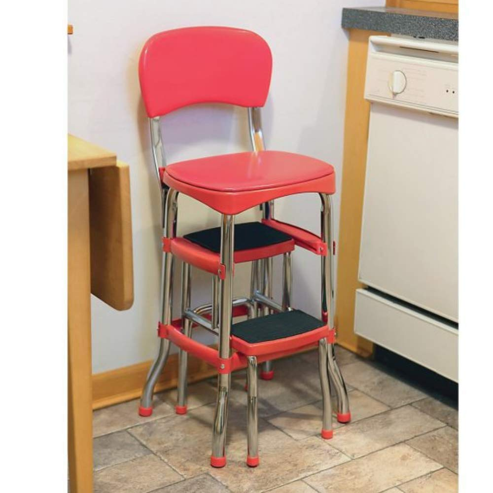 Kitchen Step Stool Chair, Retro Counter Chair, Heavy Duty Vintage Style Stool, Comfortable Safe for Home or Office with Chrome Tubing Finish and Vinyl Seat and Red Back