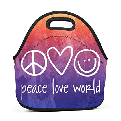 Cutehome Boys Girls Neoprene Peace Love World Lunch Bag Insulated Thermal Lunch Tote Outdoor Travel Picnic