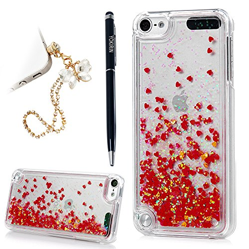 YOKIRIN iPod Touch 5 Case Transparent Clear PC Hard Plastic Shell Bling Sparkle Glitter Quicksand and Little Heart Flowing Liquid Cover for iPod Touch 5 - Red