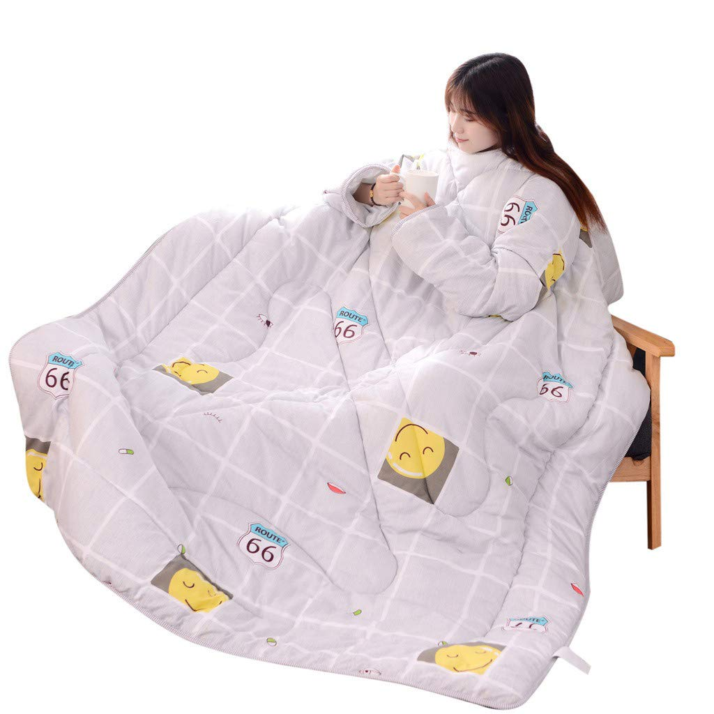 Winter Warm Lazy Quilt, Winter Convenient Lazy Quilt with Sleeves Thickened Thermal Quilt Cute That Can Be Worn Quilts (B, 47.25inch×63inch)