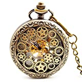 Mechanical Pocket Watch - BOSHIYA Skeleton Hand-Wind Engraved Metal Scale Roman Numerals Dial Mens Women Pocket Watches Gift Bronze
