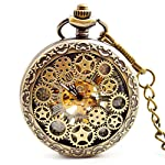 BOSHIYA Mens Vintage Skeleton Pocket Watch Steampunk Windup Half Hunter Mechanism Gear Cover with Chain 9