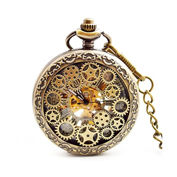 BOSHIYA Mens Vintage Skeleton Pocket Watch Steampunk Windup Half Hunter Mechanism Gear Cover with Chain 3