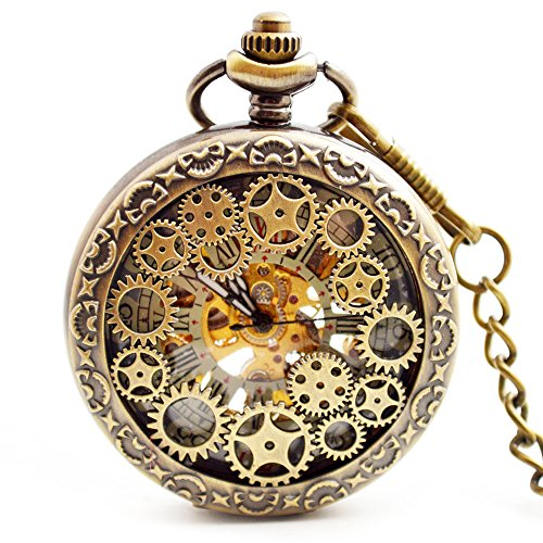 BOSHIYA Mens Vintage Skeleton Pocket Watch Steampunk Windup Half Hunter Mechanism Gear Cover with Chain