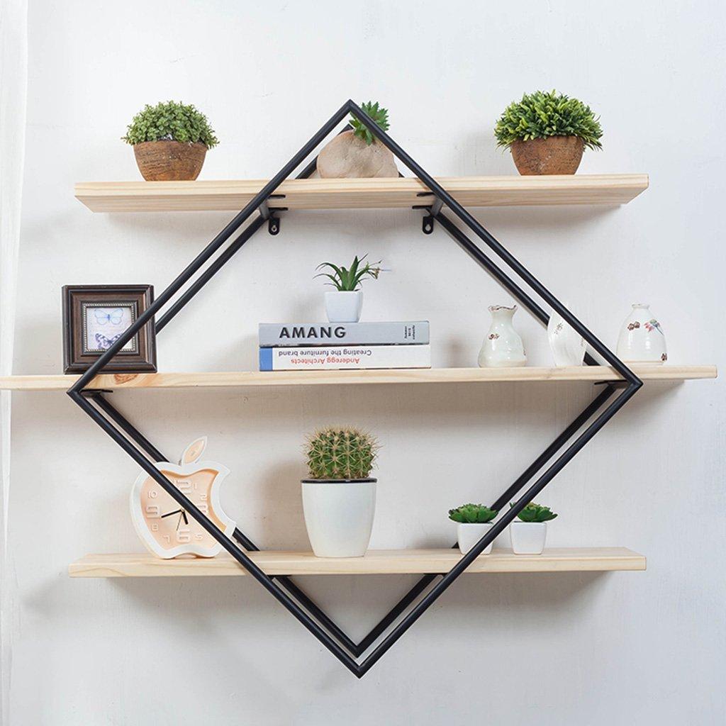 YCT 収納キャビネット、装飾用ラック、仕切り棚、シンプルな本棚を吊るす錬鉄製の壁を整理します。 B07R6CSDH3