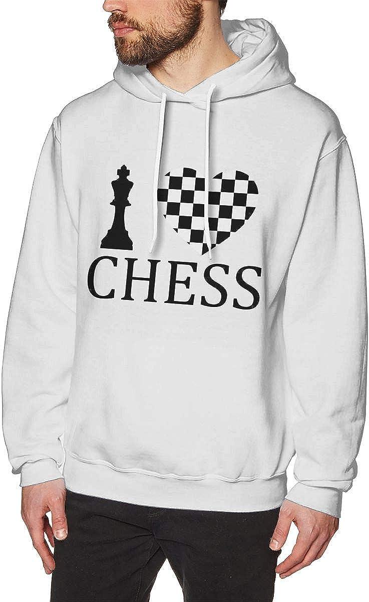 Mens Hoodies I Love Chess Best Pullover Hooded Print Sweatshirt Jackets