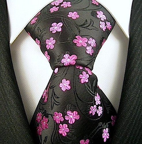 Black & Pink Mens Floral Tie | Neckties by Scott Allan