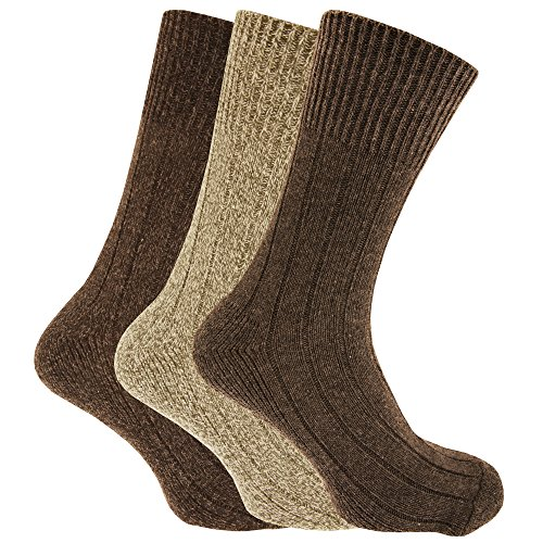 Mens Non Elastic Chunky Wool Boot Socks (Pack Of 3)