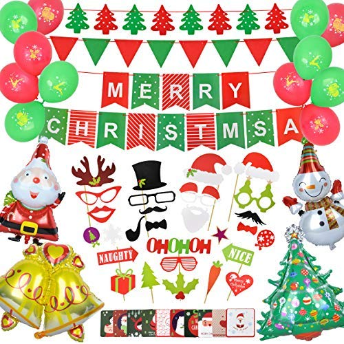 Christmas Decorations - 59 pcs Christmas Party Supplies Include Merry Christmas Banner/Christmas Card/Photo Booth Props/Foil Balloons/Latex Balloons for Christmas Indoor Decor