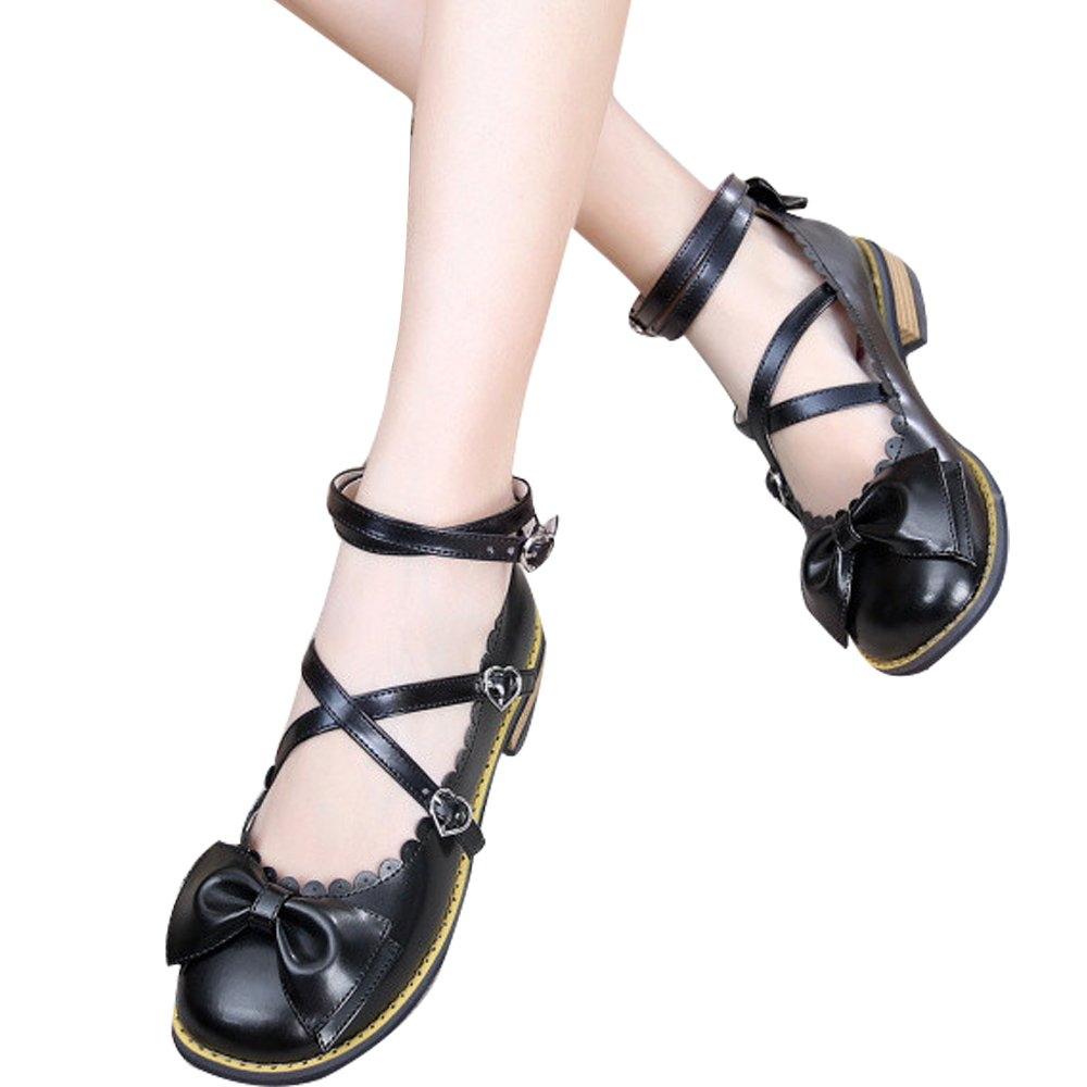 Japanese Sweet Lolita Low Chunky Heels Round Toe Bowtie Strappy Princess Shoes B06XCC7FY8 6 M US|Black