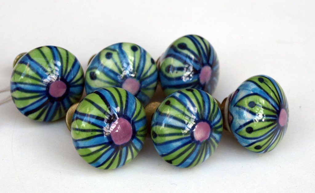 6 x Blue and Green Cupboard Door Small Knobs Pulls Handles Apple Green