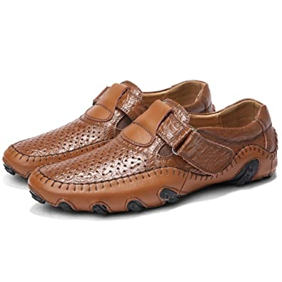 Mocasines para Hombre de Zapatos Mocasín Cuero Piel Casual Sandalias Cordones Náuticos