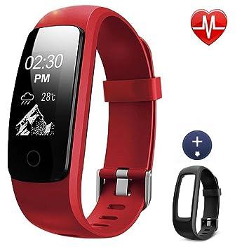 Lintelek Bracelet Connecté, Montre Sport Cardiofréquencemètre Tracker dactivité Etanche Montre GPS Connectée Chronomètre