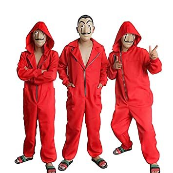 JiangJie Kawaii Cosplay Adulto Niños Traje de Dali Traje de La Casa De Papel Rojo Una Pieza Traje de máscara de Traje Rojo Grande / Disfraz de ...