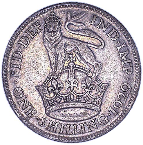 1929 UK George V British 0.500 Silver One Shilling Good