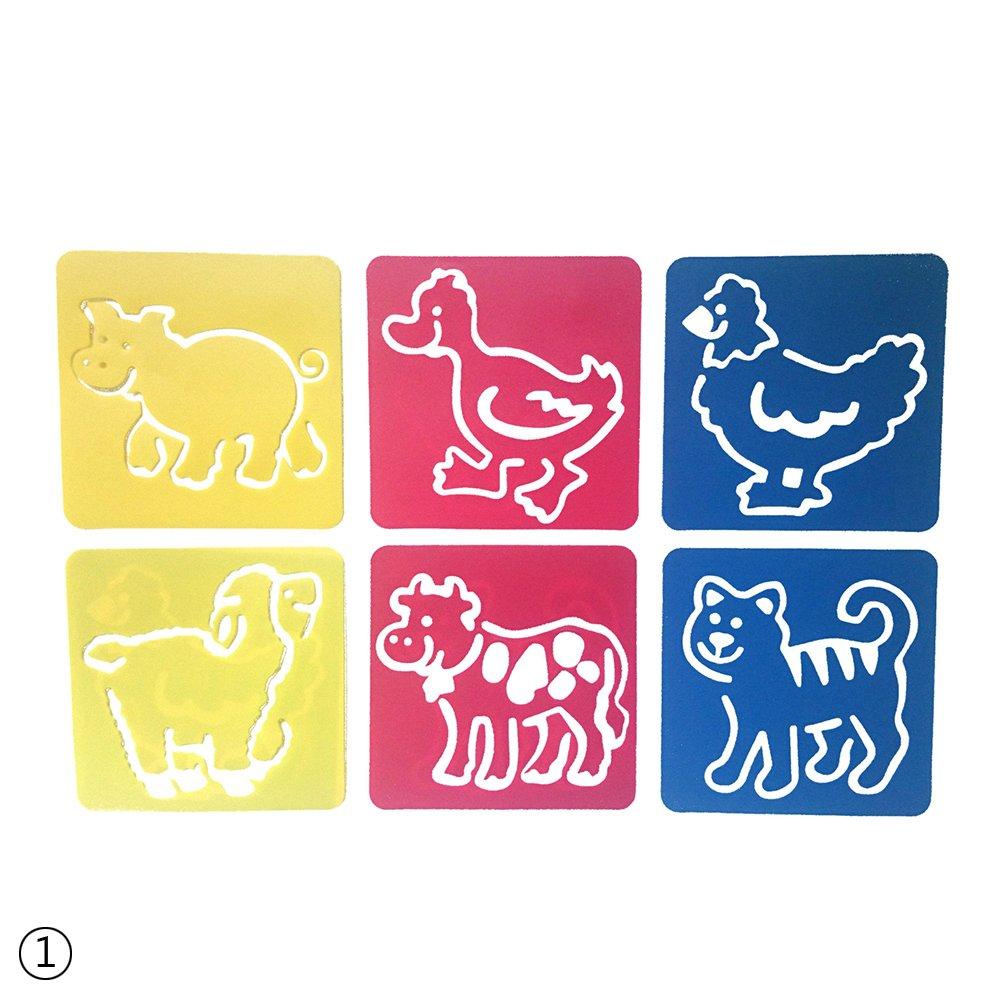rungao 6pcs diy plá stico imagen dibujo gobernantes plantilla plantillas pintura para niñ os regalo