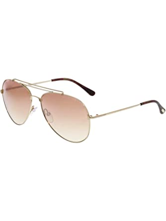9562a389ff Image Unavailable. Image not available for. Color  Tom Ford FT497 28Z Shiny  Rose Gold Indiana Pilot Sunglasses ...