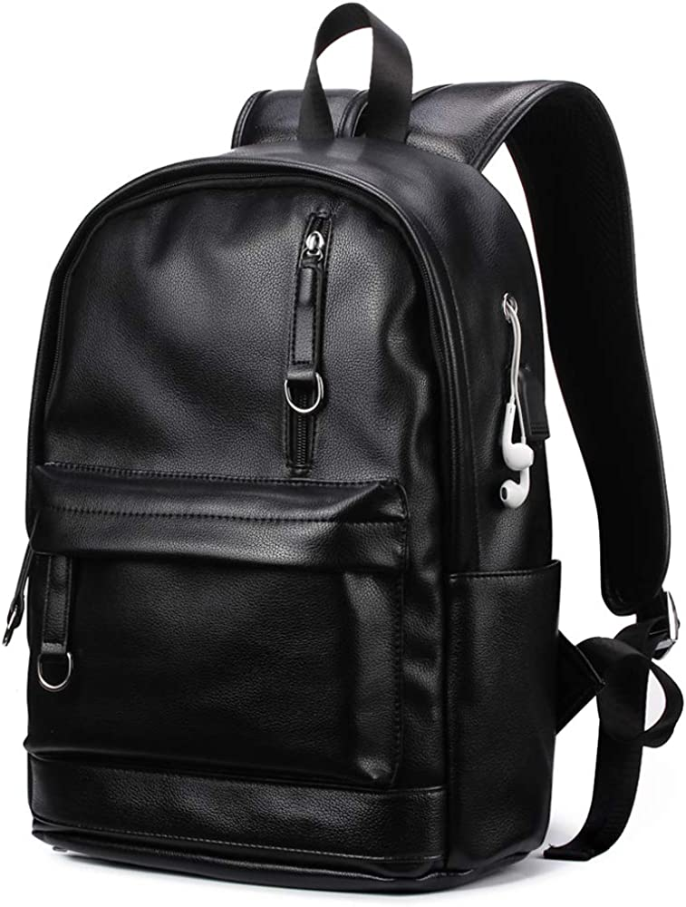 Backpack For Women Men Trendy PU Leather School College Bookbag USB Charging Port Laptop Computer Soft Leather Backpack Women Men Travel Backpack