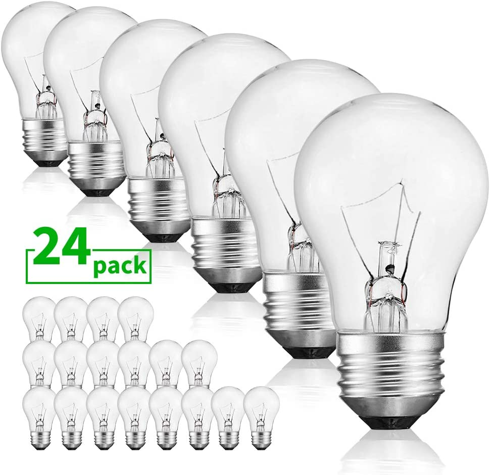 40 Watt Warm White Bulbs Bright and Long Lasting Appliance Light A15 Ceiling Fan Light Bulb Incandescent with E26 E27 Medium Base, 24 Packs