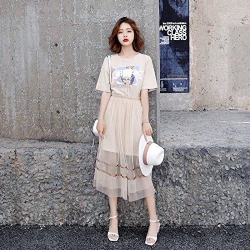 MiGMV?Jupe Robes, Femme, t, 2018, Le coren, l'impression, T-Shirt, gazes, Robe, Deux Ensembles, Women's Dress, L, Light Apricot