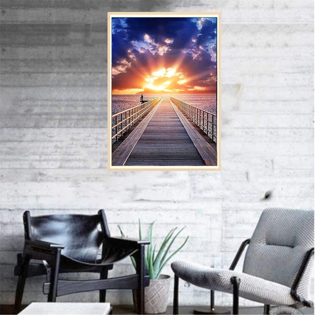 Style A - 40x30CM wifreo 5D DIY Diamond Scenery Painting Kit for Adult Round Full Drill Embroidery Cross Stitch Arts Craft Canvas Supply for Home Wall Decor