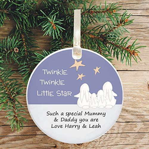 - Personalized Ceramic Parents Keepsake Hanging Christmas Tree Ornament - Twinkle Star Design - Ideal gift for any family - Unique addition to your festive Xmas Holiday Decorations