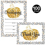 Thanksgiving Dinner Invitations ( 100 ) & Folded Thank You Cards ( 100 ) Matching Set with Envelopes Large Gathering Friends Food & Fun! Fill-In Turkey Feast Invites & Thank You Notes Best Value Pair
