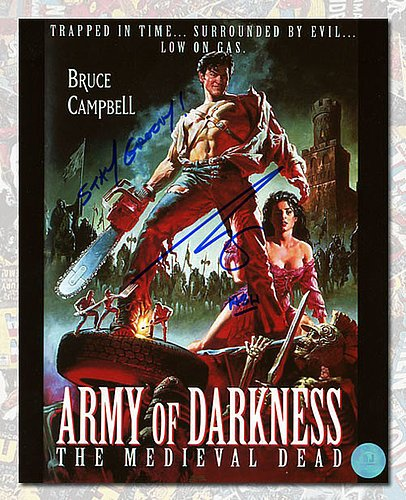 Bruce Campbell Autographed Ash Army of Darkness Movie Poster 8x10 Photo - Authentic Autographed Autograph from Sports Collectibles Online