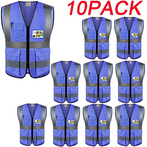 ZOJO High Visibility Safety Vests,Lightweight Mesh Fabric, Wholesale Reflective Vest for Outdoor Works, Cycling, Jogging, Walking,Sports - Fits for Men and Women (Pack of 10, Blue) (Vests Lights Safety)