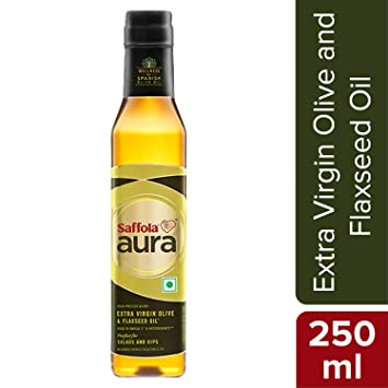 Saffola Aura Extra Virgin Olive and Flaxseed Oil, 250ml