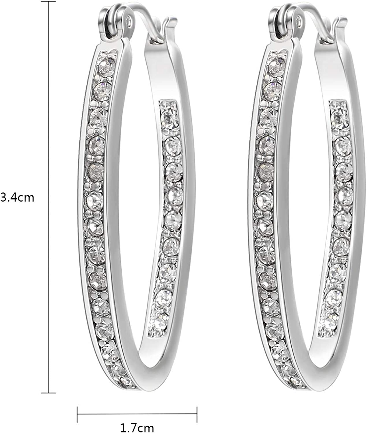 Yellow Gold Plated Round AAA Cubic Zirconia Hoop Earrings Summer Sale