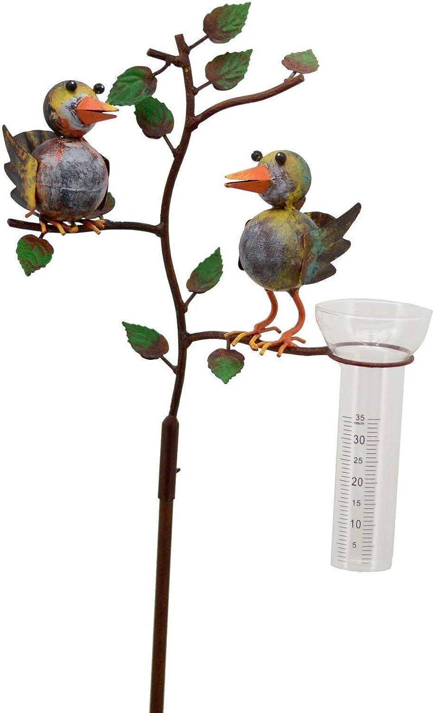tolle Gartendekoration! in Rostoptik Pommerntraum /® Regenmesser verliebtes Vogelpaar Pluviometer Niederschlagsmesser