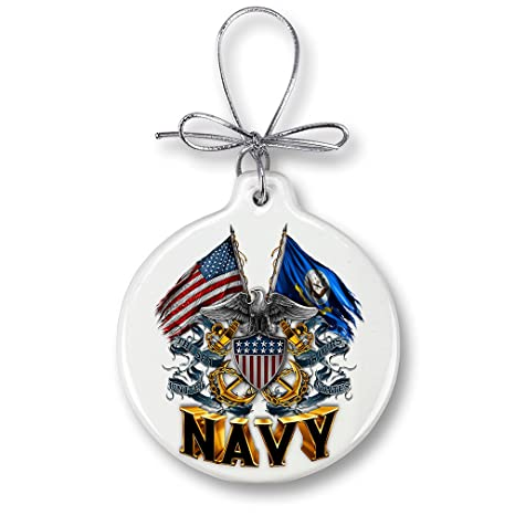 Christmas Ornaments United States Navy Gifts For Men Or Women Us Navy Ornaments With A Silver Ribbon Us Navy Shield Double Flag Eagle Xmas