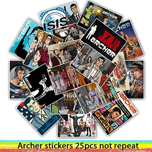 - 25pcs TV Shows Archer Stickers for Skateboard Motorcycle Luggage Cool Funny Sticker Bomb JDM Decals