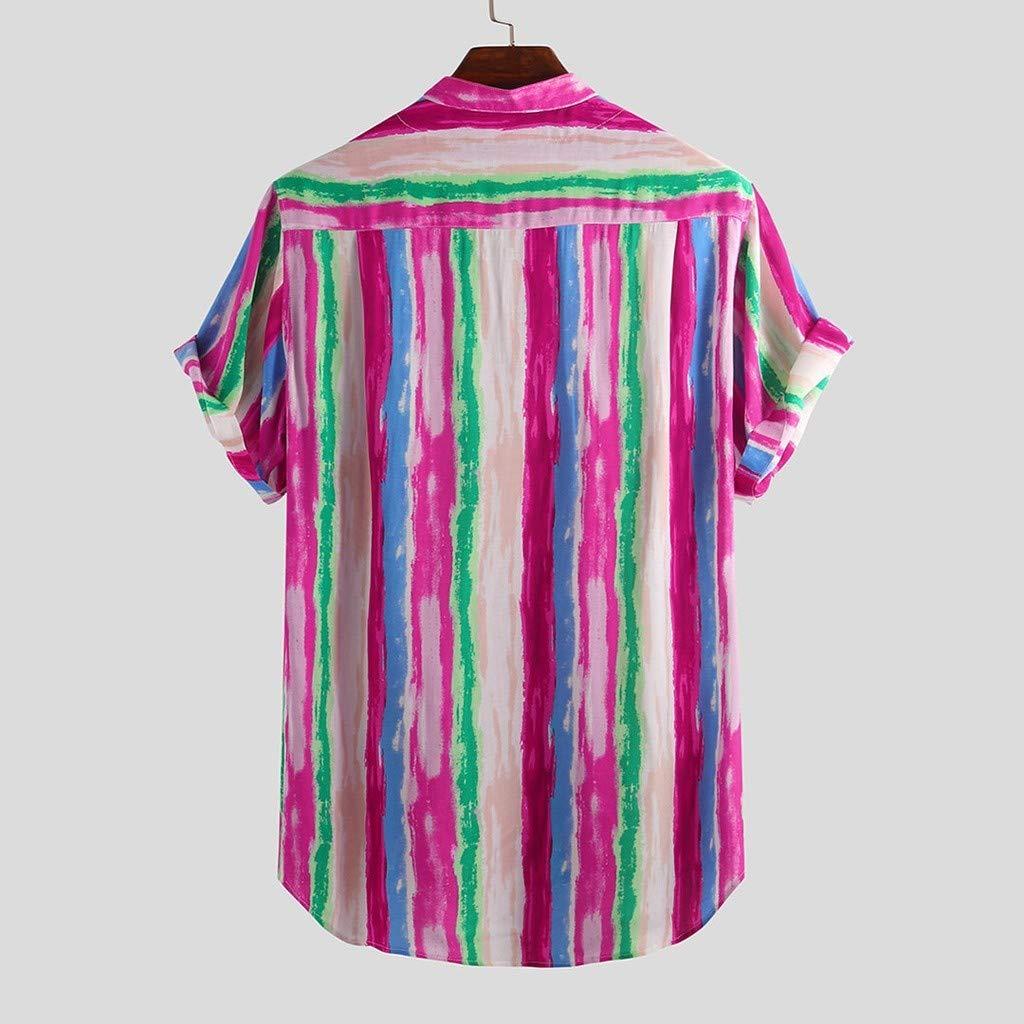 Beautyfine Mens Cotton Printed Hawaiian Shirts Stand Collar Short Sleeve Loose Tops